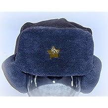 Russian Soviet Army Fur Military Ushanka ear flaps Hat Grey Green Star size L size 58
