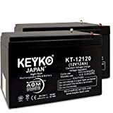 12 volt 12ah battery - Battery 12V 12Ah Fresh & Real 12.0 Amp AGM/SLA Sealed Lead Acid Rechargeable Replacement Genuine KEYKO KT-12120 - F2 Terminal - 2 Pack