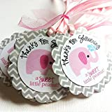 Thanks for Showering Elephant Favor Tags Baby Girl Shower - Baby Girl Party Gift Tags - Set of 12