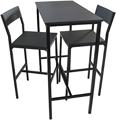 Mod. LIGNANO Set Mesa y 2 Taburetes Cocina Angulo Bar Muebles Sillas Salón Color Negro