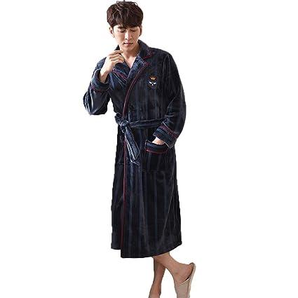 GSS-Abrigos Batas De Baño para Hombres Bata De Baño Toalla Pijamas Larga Y Suave