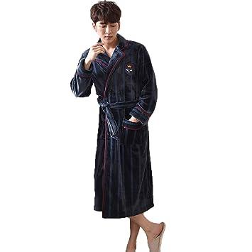 GSS-Abrigos Batas De Baño para Hombres Bata De Baño Toalla Pijamas Larga Y Suave De Franela Suave Servicio A Domicilio Cardigan Bolsillos Casuales Y ...