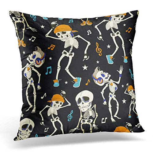 (Emvency Throw Pillow Covers Case Blue Costume Dancing Skeletons Party Halloween Music Disco Isla Vista California Funny Headphones Orange Decorative Pillowcase Cushion Cover 18 x 18)