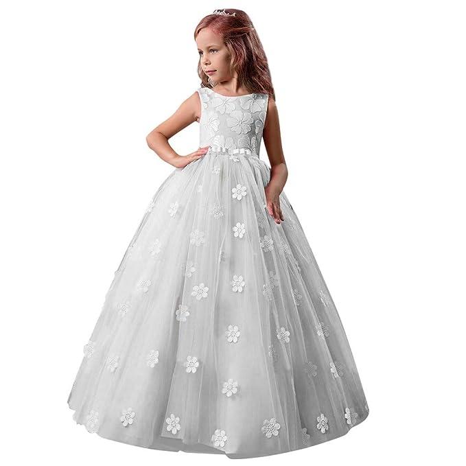 QinMM Costume da Principessa Vestito Bambine e Ragazze Fiocco Senza Maniche  in Pizzo 5-14 Anni Elegante Costume da Unicorno Vestito  Amazon.it  ... fb2e325bf3c
