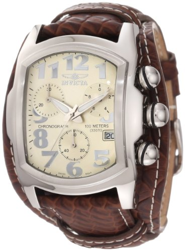 Lupah Swiss - Invicta Men's 11322 Lupah Chronograph Beige Dial Brown Leather Watch
