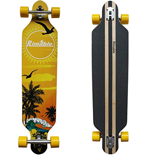 RIMABLE Drop-Through Longboard 41inch Beach Waves