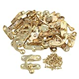 BQLZR Yellow 45x40 MM Vintage Padlock Hasp Wooden Jewelry Box Iron Horn Left Hook Lock Pack of 20