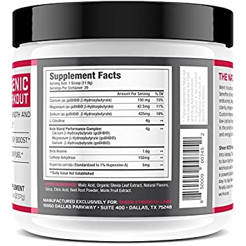 Ketogenic Pre Workout Supplement – Promotes Healthy Weight Loss, Fat Burning and Boosted Energy Through Rapid Ketosis – Includes BHB Salts Ketones – Watermelon Chill – 237g – Sheer Strength Labs