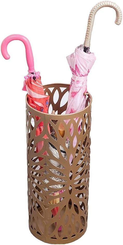 LHX Paraguas Cubo Hierro Forjado Paragüero Arte de Metal Tallado Paraguas Cubo Hogar Paraguas Almacenamiento Paraguas Bastidor-Gold