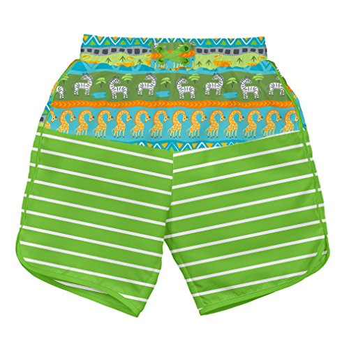 (i play Boys' Board Shorts with Built-in Reusable Absorbent Swim Diaper, Green Safari, 18mo)
