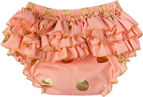 Infant Polka Dot Diapers - Messy Code Girls Peach Briefs Sweet Gold polka dot Bloomer,Peach,S(6-12Months)