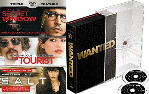 Angelina Jolie Collection Wanted Collectors Edition DVD + Salt Action Movie The Tourist & Secret Window 4 Film Set (4 Film Favorites Stephen King)