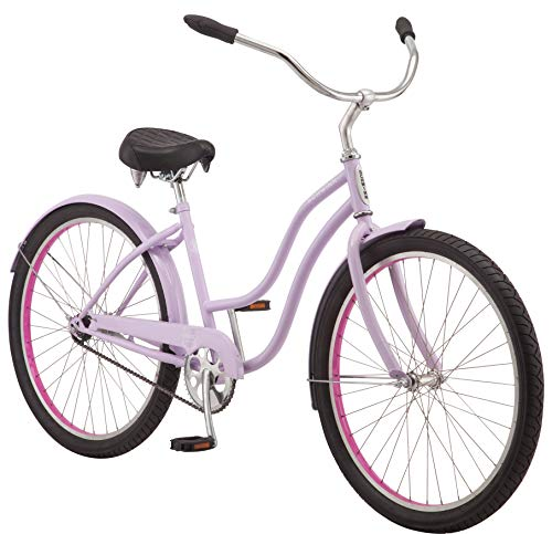 Schwinn Mikko Women's Cruiser Bike, Featuring 17-Inch/Medium Steel Frame, Single-Speed Drivetrain, Full Front and Rear Fenders, and 26-Inch Wheels, Purple