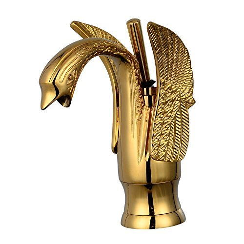(Rozinsanitary Gold Polished Swan Shape Bathroom Sink Faucet Single Lever Basin Mixer Tap by Rozin)