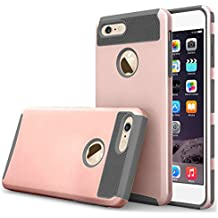 """iBarbe iphone 6 Case,iphone 6s Case,2 in 1 Shock-Absorption Bumper Cover Anti-Scratch Rubber Plastic Heavy Duty Protection Slim Hard case for iPhone 6 (4.7""""),iPhone 6S (4.7"""")(2015) - rosegold/gray"""