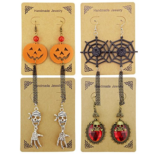 ALoveSoul 4Pcs Spider Web Skull Pumpkin Skeleton Hand Earrings Set Gothic Punk Halloween Costume Vampire Earrings for Women