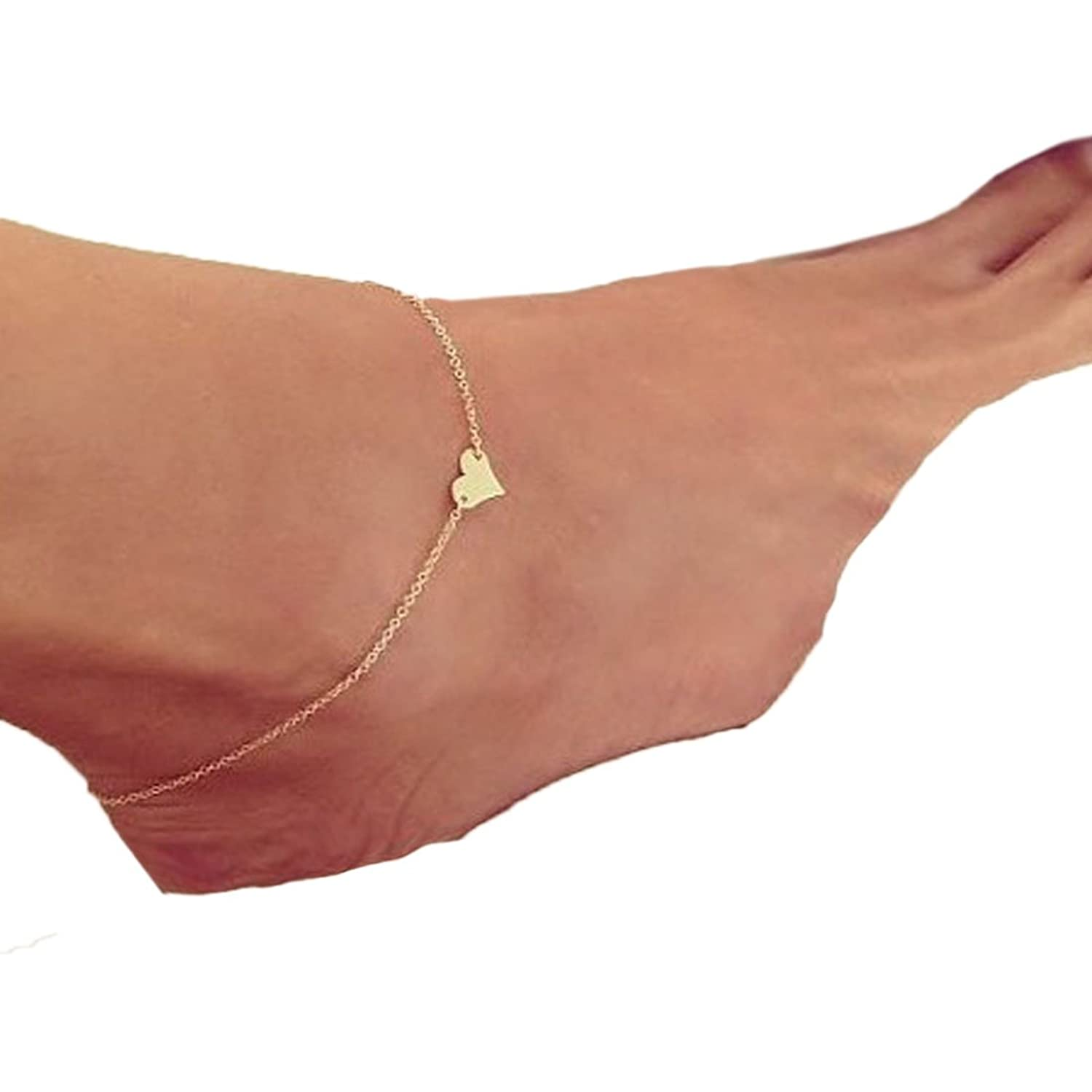 anklet inch heart bracelet bling charm gold filled figaro jewelry anklets chain beautiful