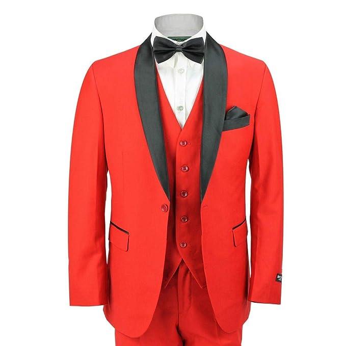 Amazon.com: Xposed hombre negro chal solapa 3 piezas rojo ...