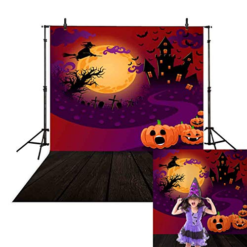 5x7ft Halloween Themed Photography Backdrop pumpkin Black Castle Witch and Bat Flying in the Moonlight Horrible Party Decor Background Photo Studio Booth Photographer Props -