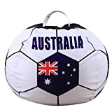 Transer Stuffed Animal Storage Bean Bag, Football Soccer Shape, Soft Pouch Fabric Chair, Toy Storage Solution For Blankets/Pillows/Covers/Towels/Clothes (B)