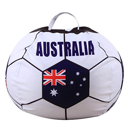 Transer Stuffed Animal Storage Bean Bag, Football Soccer Shape, Soft Pouch Fabric Chair, Toy Storage Solution For Blankets/Pillows/Covers/Towels/Clothes (B) by Transer