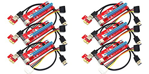 Underground Water Storage (Panto Version 7 SATA Powered PCI-E PCI Express Riser - VER 007S - 1X to 16X PCIE USB 3.0 Adapter Card - With USB Extension Cable - GPU Graphic Card Crypto Currency Mining (6 pack))