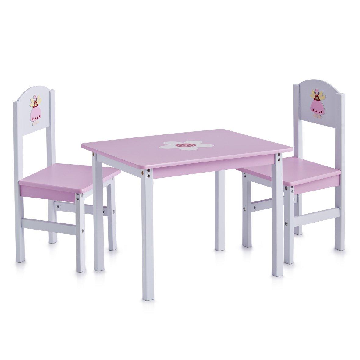 Zeller 13442 Set tavolo (60x48x45 cm) e sedie (28x26x54 cm) per bambini, 3 pezzi, in MDF, motivo principessa