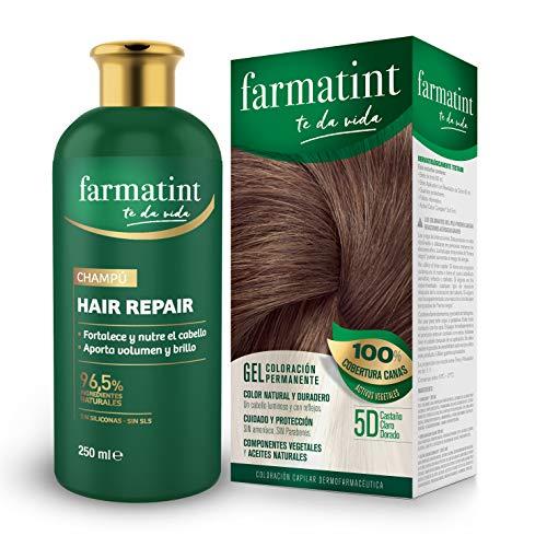 🥇 Farmatint Tinte permanente 5D Castaño Claro Dorado + Champú