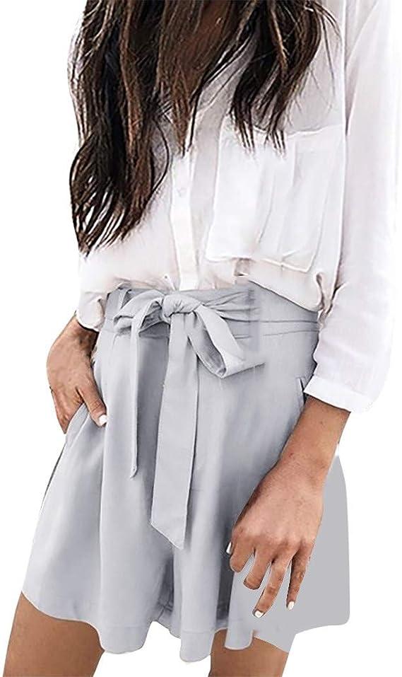 FarJing Women Shorts Casual Loose Fit Pant Elastic Waist Bowknot Pockets Pant