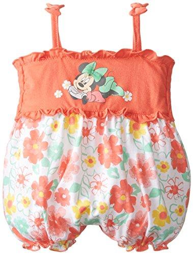 Disney Baby-Girls Newborn Minnie  Mouse Floral Romper, Orange, 3-6 Months Disney Floral Romper