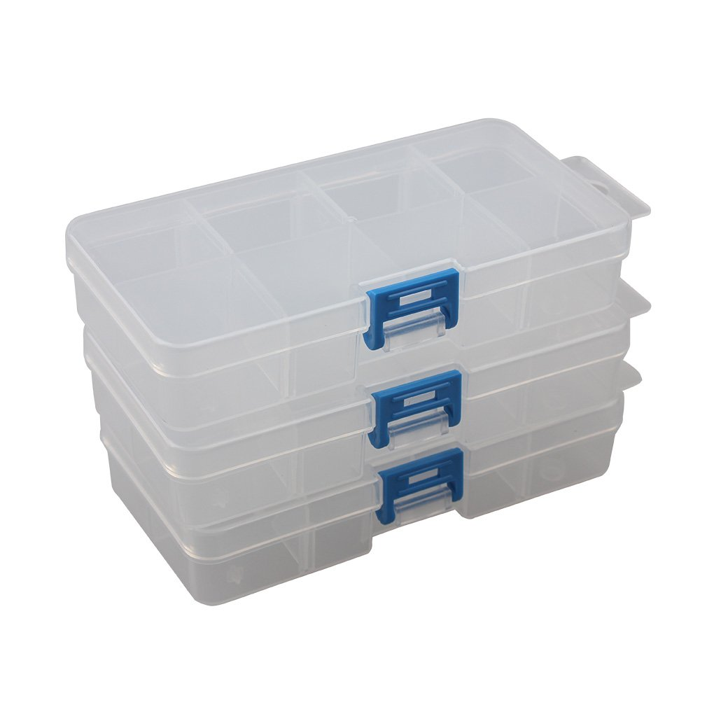 BangQiao Plastic Parts Storage case and Adjustable Divider Box for Hardware and Craft, 6 grids, Clear YWGB6grids