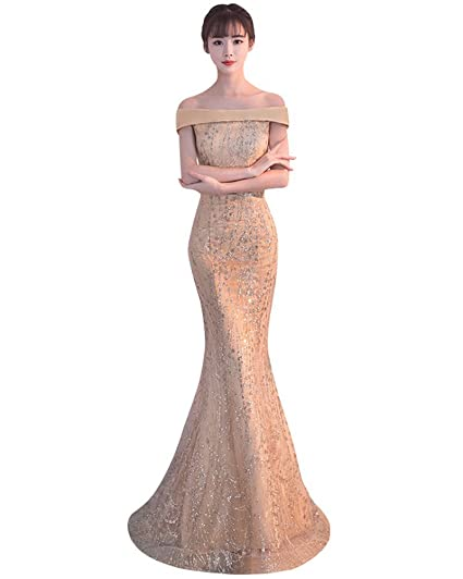 Drasawee Womens Mermaid Sexy Off Shoulder Formal Party Evening Dress Slim Long Wedding Gowns Gold UK4