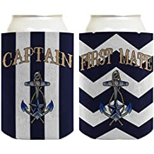 Boating Gift Captain and First Mate 2 Pack Nautical Striped Anchor Can Coolies