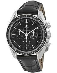 Omega Speedmaster Chronograph Black Dial Black Leather Mens Watch 31133423001001