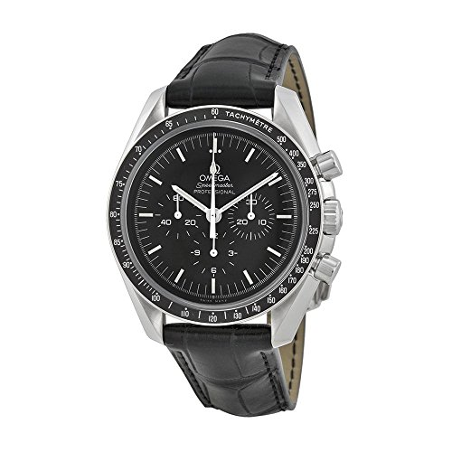 Omega Speedmaster Chronograph Black Dial Black Leather Mens Watch (Omega Watch)