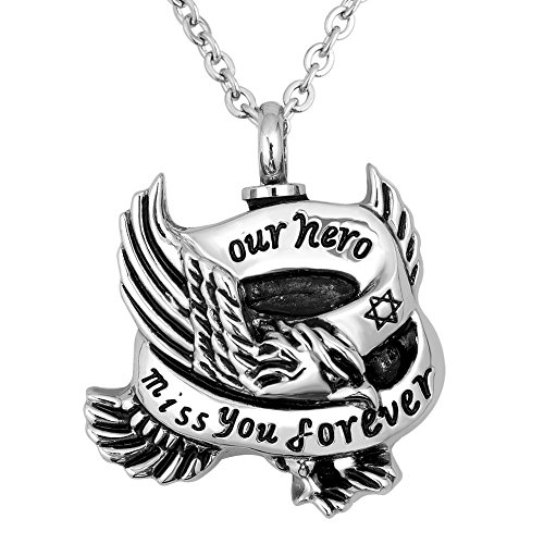 Infinite Memories - Our Hero Miss You Forever - Urn Necklace Cremation Ashes Men Women Antique Silver Eagle Pendant