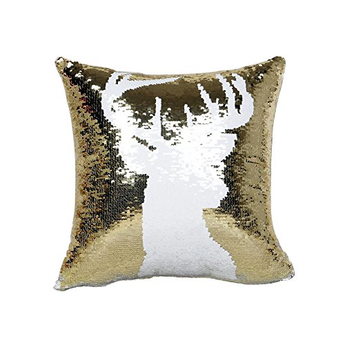 DegGod Reversible Sequins Mermaid Pillow Cases Color Changing Sequin Pillow Cover Case for Couch Decoration 16 x 16 inches (Gold and White)