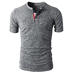 H2H Mens Casual Slim Fit Basic Henley Short Sleeve Gray US L/Asia XL (CMTTS0172)