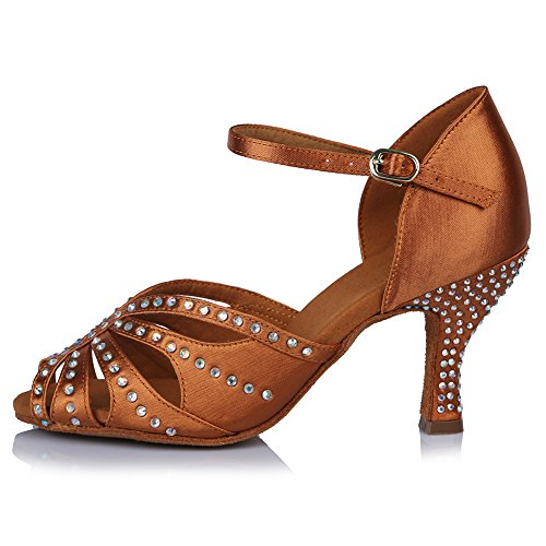 Shoes Shoes Brown Women's Model US Latin Salsa Tango Dance Rhinestone Performance Ballroom with Roymall 6 AF43502 Satin 4wfqf7