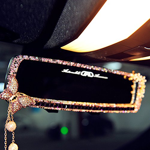 FULL WERK Car Charm Brilliant Shining Diamond Butterfly Rearview Mirror Bling Bling for Girls Woman, Car Interior Trim, Best Birthday Holiday Gift (Purple)