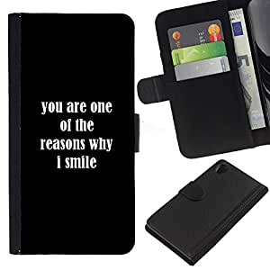 KingStore / Leather Etui en cuir / Sony Xperia Z2 D6502 / Razones Sonrisa usted ama Positivo Cita Romance