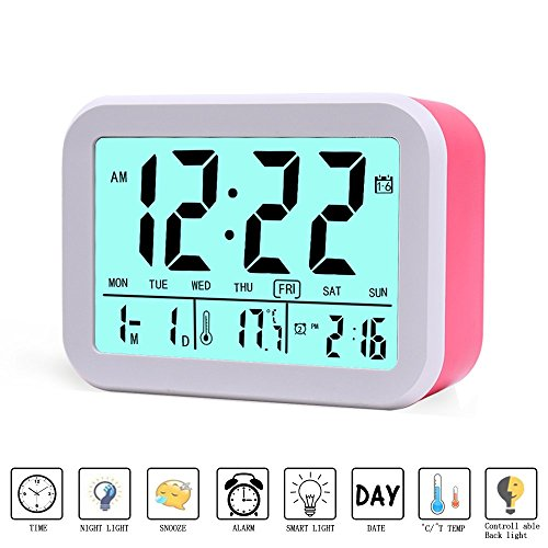 Digital Alarm Clock, MONYAN Electronic Talking Alarm Clocks for Kids,Teens and Heavy Sleepers, 4.5'' Big Display,Smart Backlight,Battery Operated, Snooze Mode,3 Alarms, 7 Rings-Red