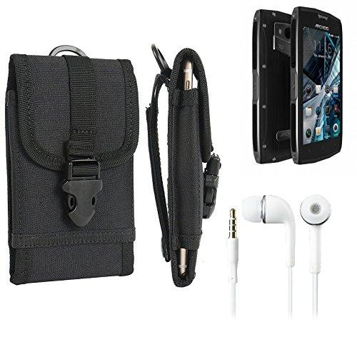 bolsa del cinturón / funda para Archos Sense 50X, negro + Auriculares   caja del teléfono cubierta protectora bolso - K-S-Trade (TM)