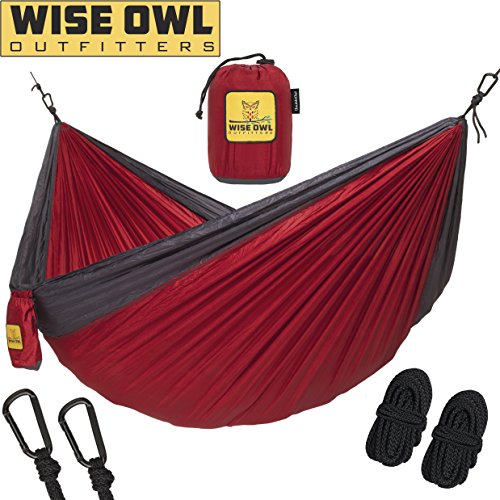 Hammock for Camping Single & Double Hammocks - Top Rated Best Quality Gear For The Outdoors Backpacking Survival or Travel - Portable Lightweight Parachute Nylon DO Red & (Ultimate Gear Bag)