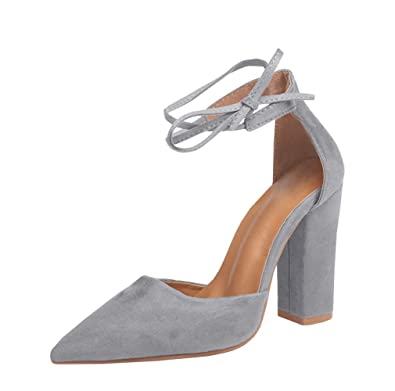 84eecb13e9 Amazon.com | Huiyuzhi Womens Chunky Ankle Strappy Sandal Pointed Toe High  Heels Grey 10.5 B(M) US | Shoes