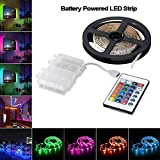 Battery Powered LED Strip Lights with Remote Control and Waterproof Battery Box,16 Colors 2M Flexible Waterproof LED Lights Strip - 6.56ft