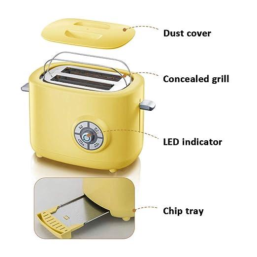 MIAO. 2-Slice Toaster - 680W - 6 Variable de Control de Tostado ...