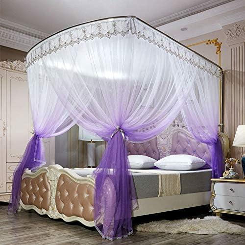 姫ベッドキャノピー,の-形のグラデーションモスキートネット ヨーロピアンスタイル レース ベッドのためのステンレス鋼サポートが付いている暗号化糸のベッドのカーテン -パープル