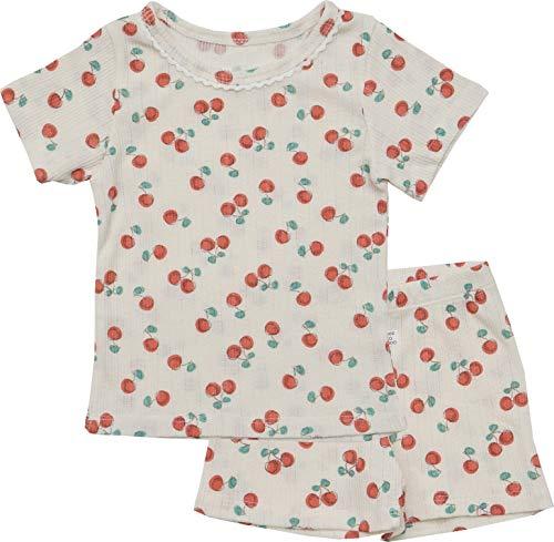 AVAUMA Newborn Baby Little Boy Girl Cherry Pattern Pajamas Summer Ribbed Short Sets Pjs Kids Clothes (S/Cream)
