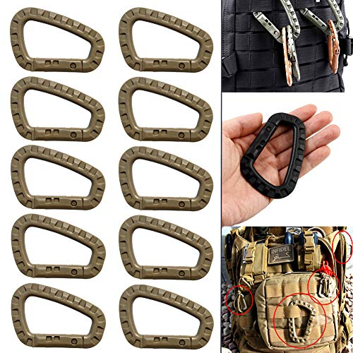 c26b0f4e1544 Tactical 10pcs Enforcement Polymer Light Weight D-Ring Locking Hanging Hook  Tactical Link Snap Keychain (10Pcs Khaki)
